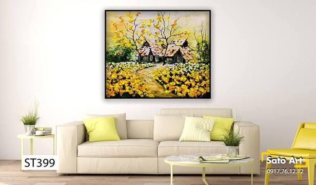 Tranh khu vườn sắc vàng