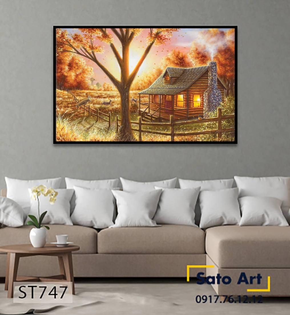 Tranh ngôi nhà trên thảo nguyên