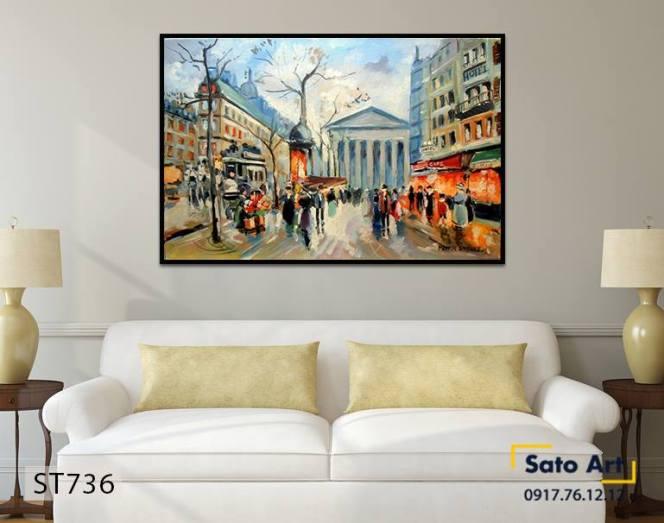 Bức tranh phong cảnh thành phố Tây Âu