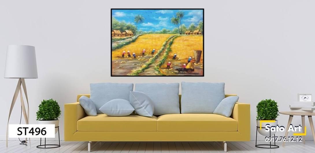 Tranh sơn dầu thu hoạch lúa