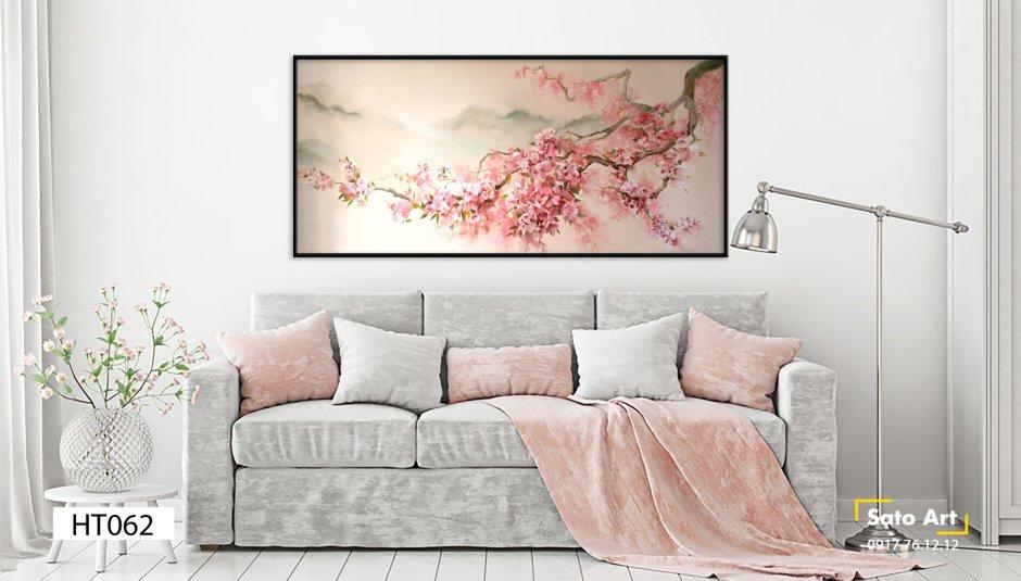 Tranh sơn dầu hoa đào đẹp nhất