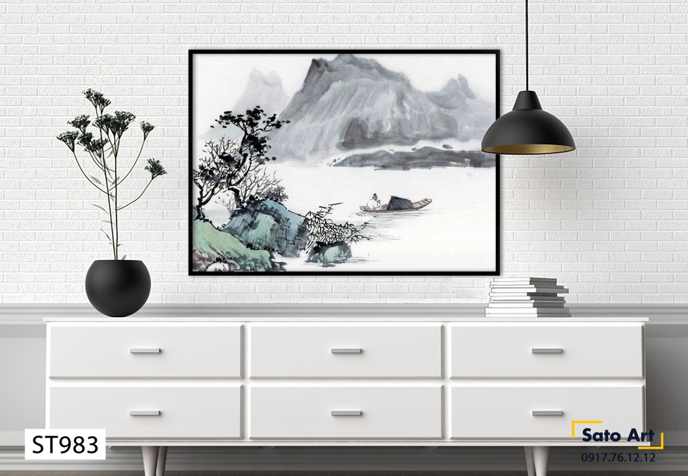 Tranh sơn dầu phong cảnh trắng đen