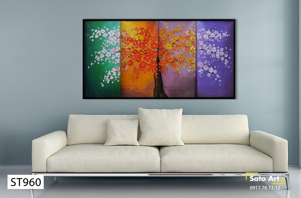Tranh sơn dầu vẽ hoa mai