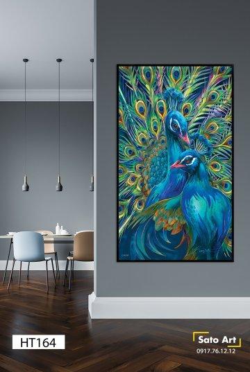 Tranh sơn dầu đôi chim công sắc xanh