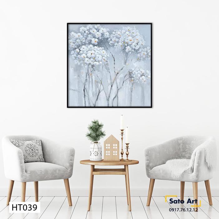 tranh hoa trắng sơn dầu decor