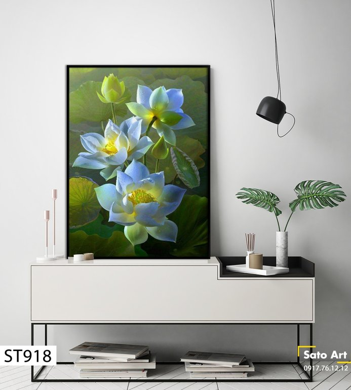 Tranh sơn dầu hoa sen nổi tiếng