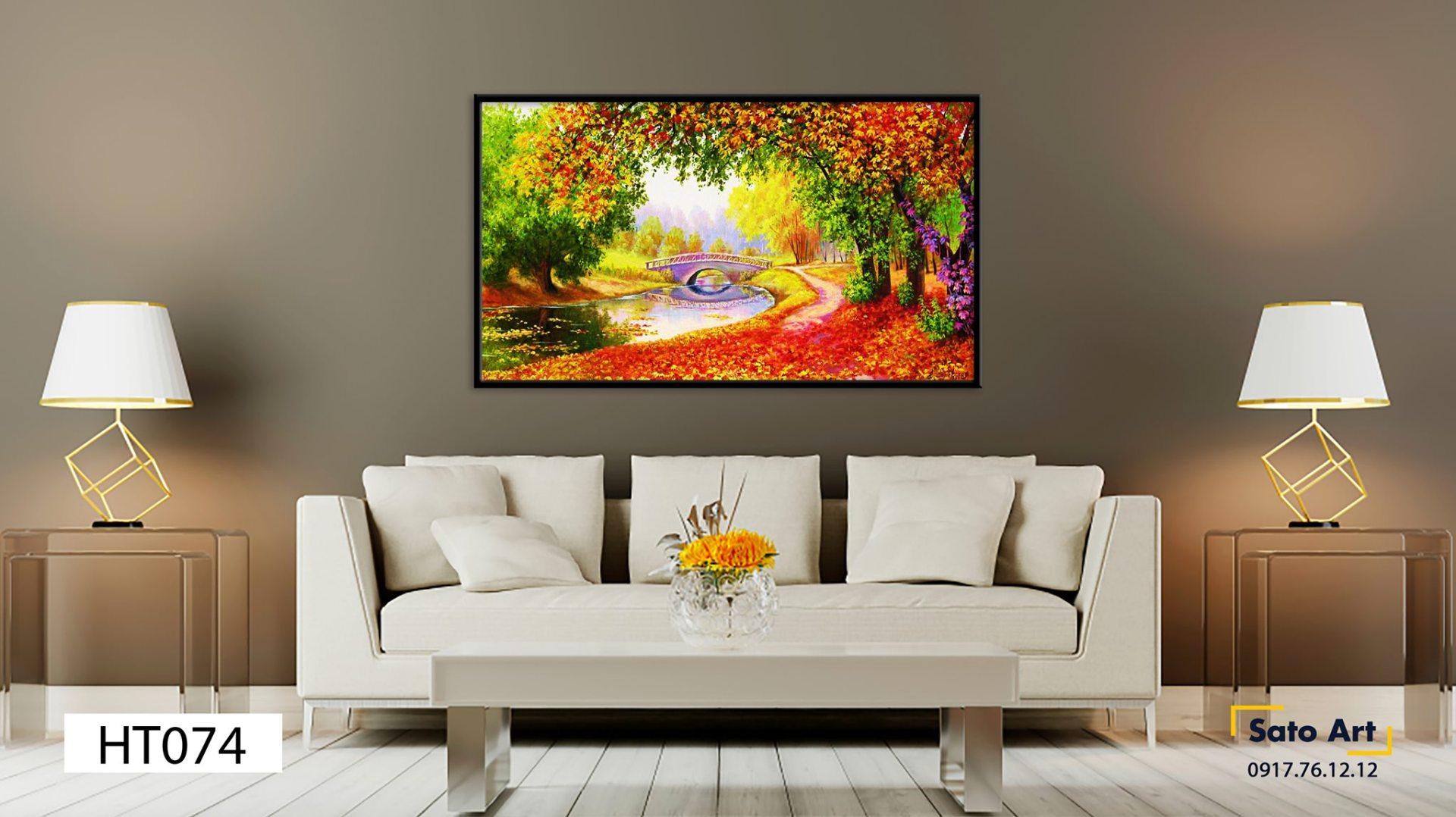 tranh sơn dầu khu rừng đa sắc