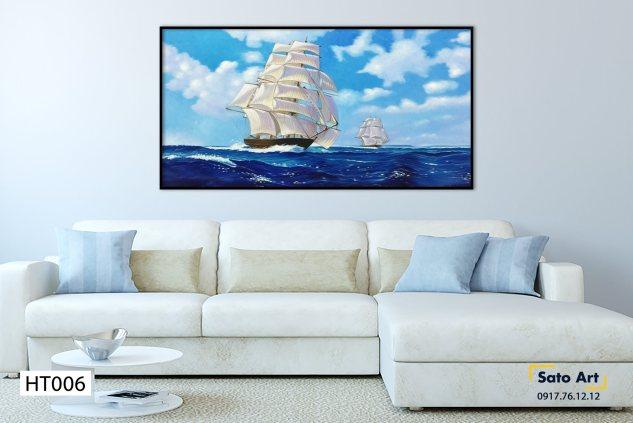 Tranh sơn dầu thuyền trên biển