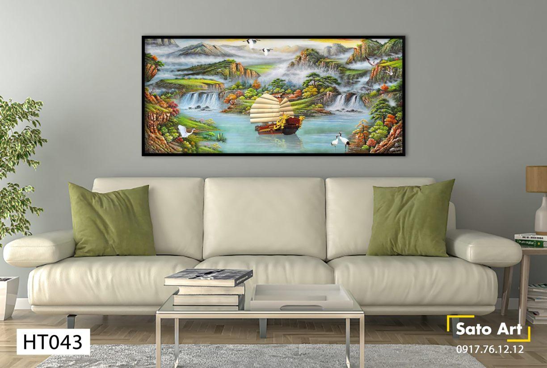 Tranh sơn dầu phong cảnh sơn thủy và thuyền lớn