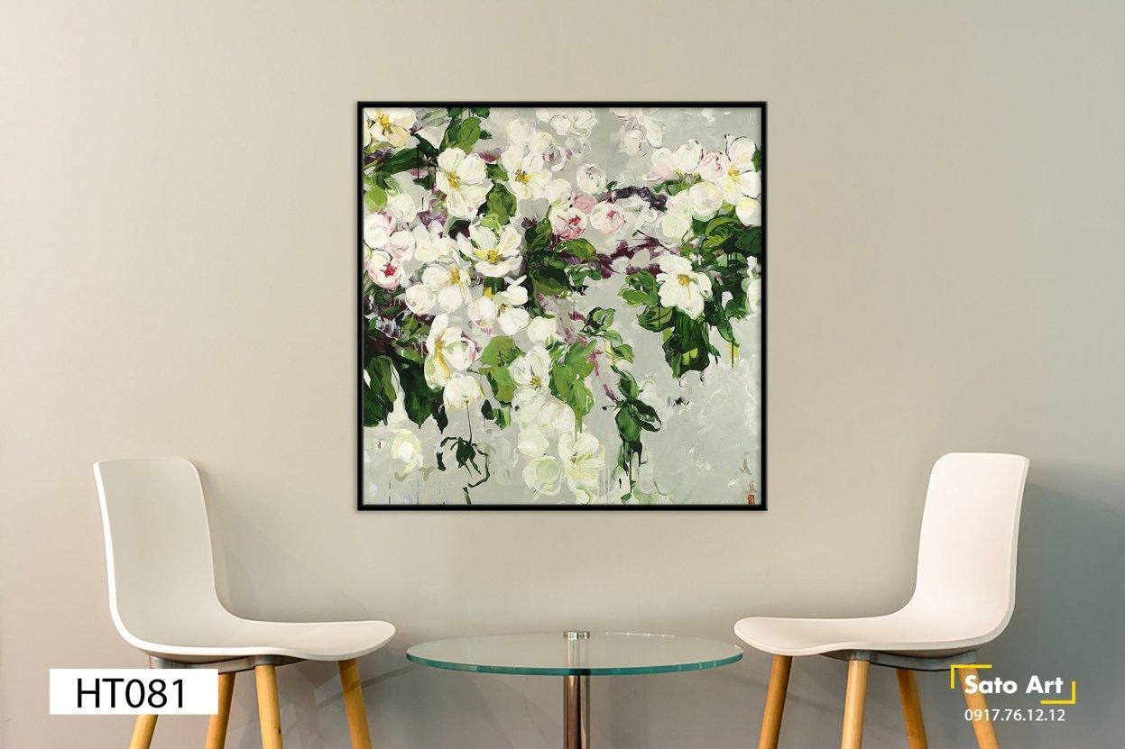 Tranh sơn dầu hoa trắng