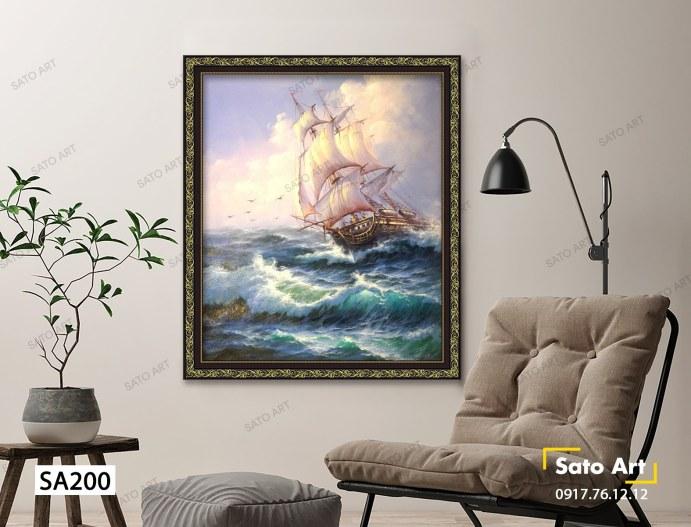 tranh thuyền giữa biển khơi