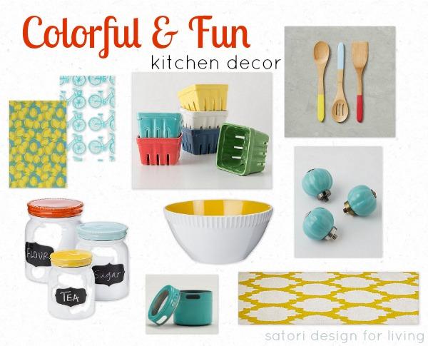 colorful kitchen accessories red clock and fun decor satori design for living