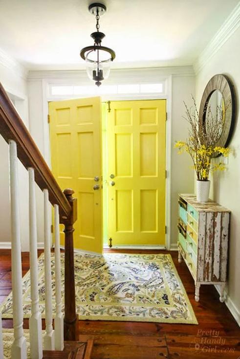 Interior Painted Yellow Highlighter Doors - Pretty Handy Girl