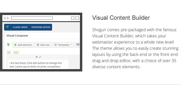 shogun features - visual content builder