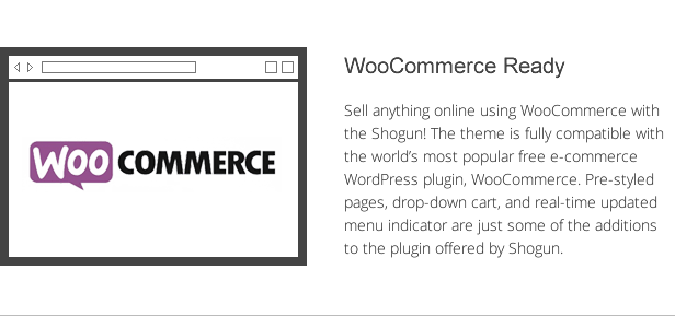 shogun features - woocommerce integration