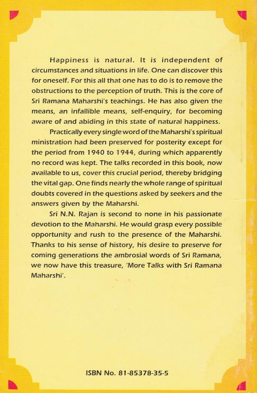 More Talks with Sri Ramana Maharshi-Back Cover