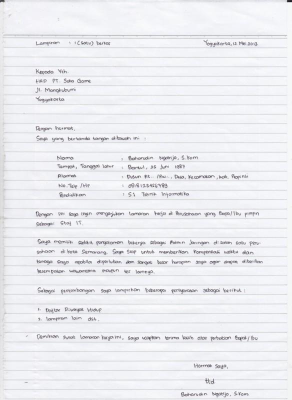 surat lamaran kerja tulis tangan