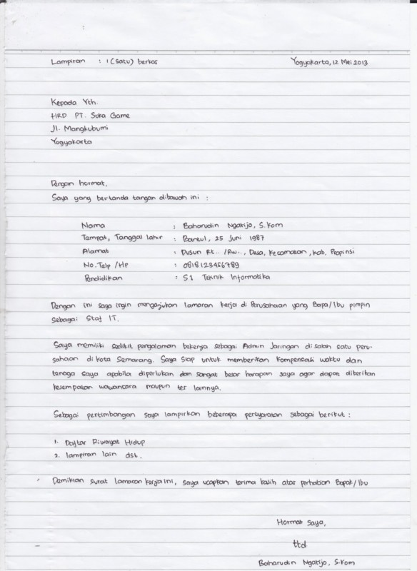 Contoh Surat Lamaran Kerja Tulis Tangan Di Rumah Sakit