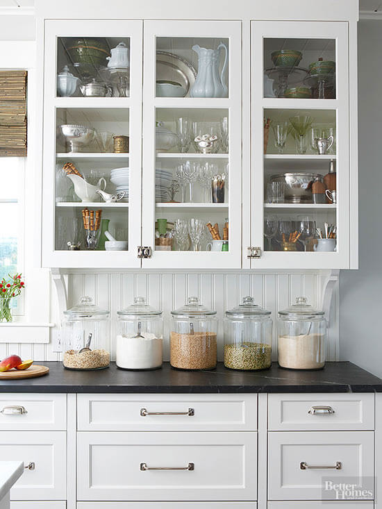 countertops with clear storage containers