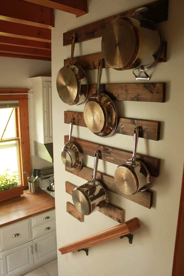 Wood Pot Hanging Rack - homebnccom