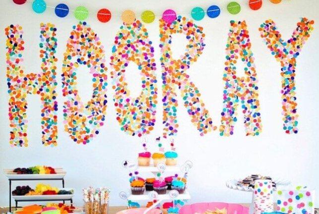 Festive Birthday Decoration Ideas with Confetti on Wall - tempaintcom