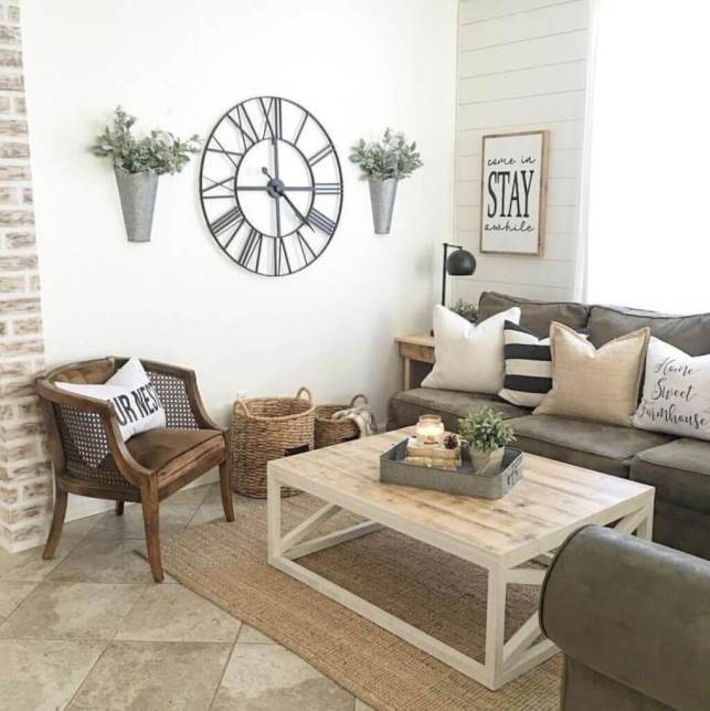 Rustic Living Room Ideas with Oversized Clock - homebnccom