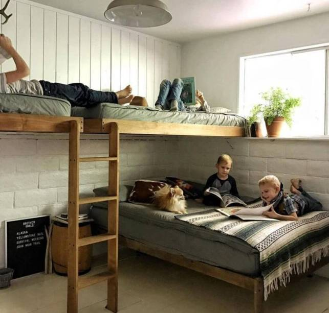 Two-Levels Triple Bunk Bed for Kids Ideas - elonahomecom