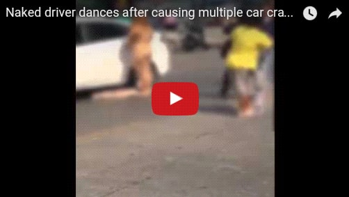 WATCH: N_aked woman causes accident and starts dancing on street