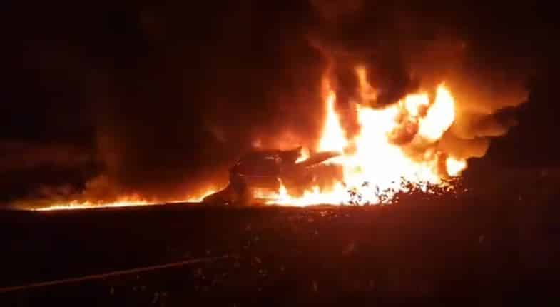truck driver burns to death