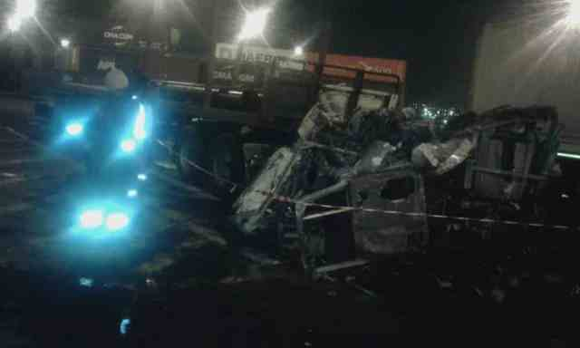remains of truck burst into flames inside dct