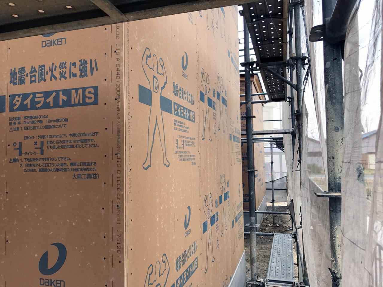 市街化調整区域の建て替え新築設計・デザインをしている住宅の構造用合板ダイライト