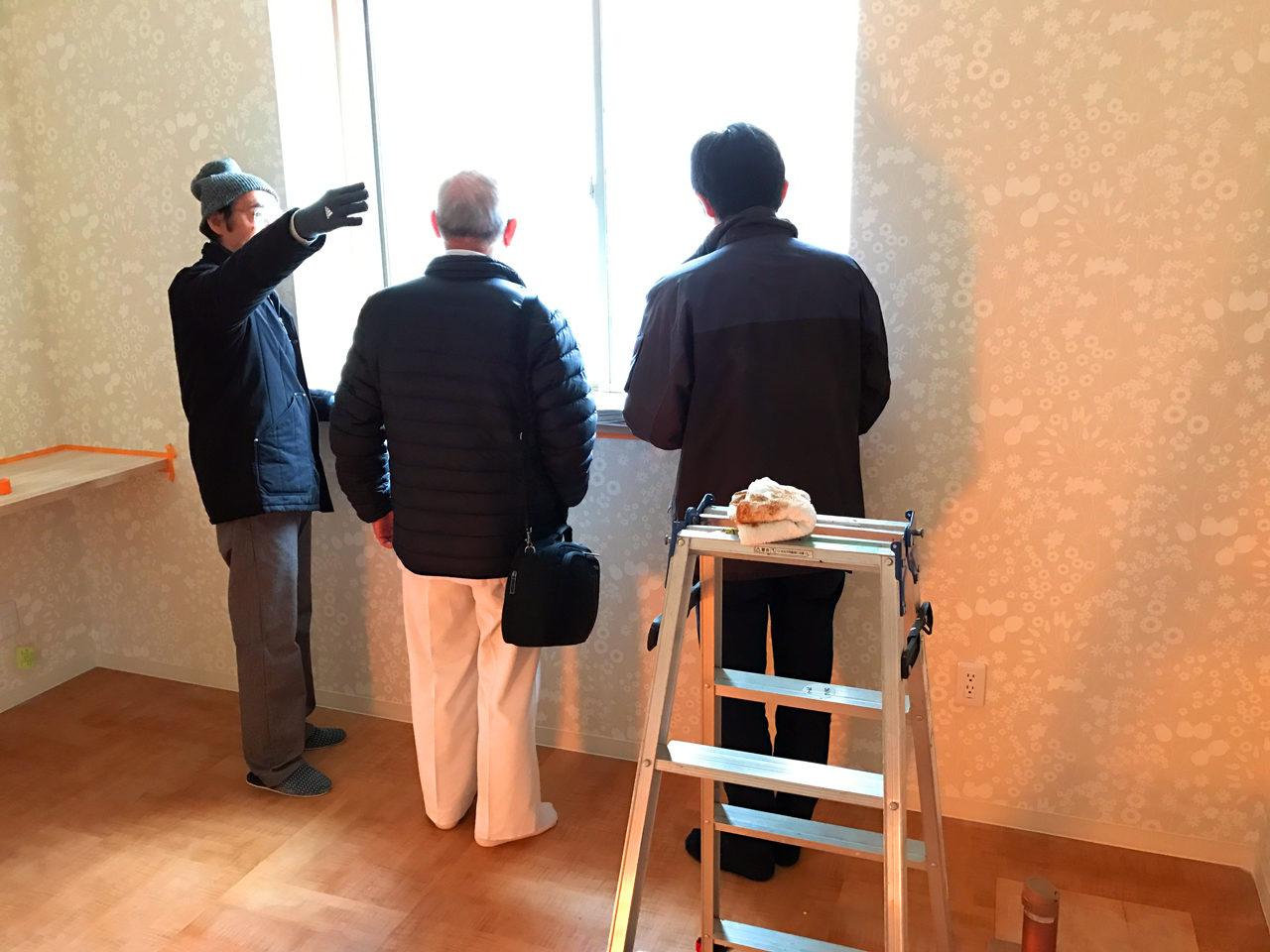 レディース治療院(はり・あん・マッサージ)付き二世帯住宅の医療用カーテンの打ち合わせ