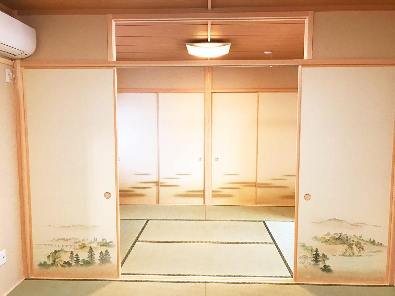 設計・デザインをさせていただいた木造平屋建てバリアフリー住宅の二間続きの和室