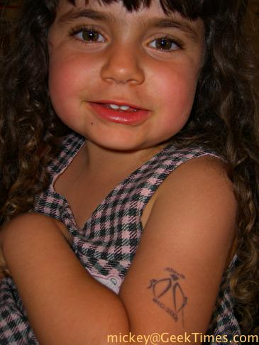 Lila's Burning Man tattoo. My candy-holic daughter's real love at Zante