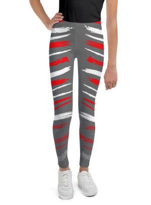 Warrior Stripes – Red and White Over Grey — Youth Leggings