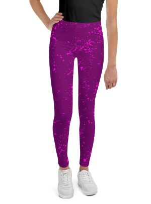 Paint Splatter Youth Leggings – Purple and Pink