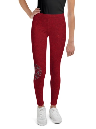 Red Cross-stitch with Metal Floral Youth Leggings