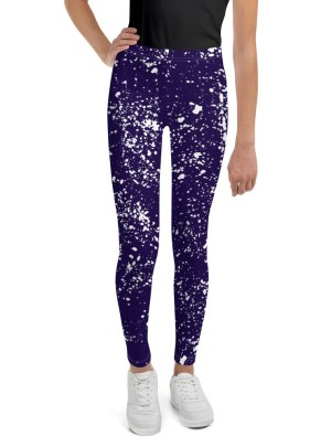 Paint Splatter Youth Leggings – Blue and White