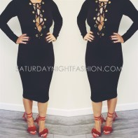 long sleeve black dress lace up
