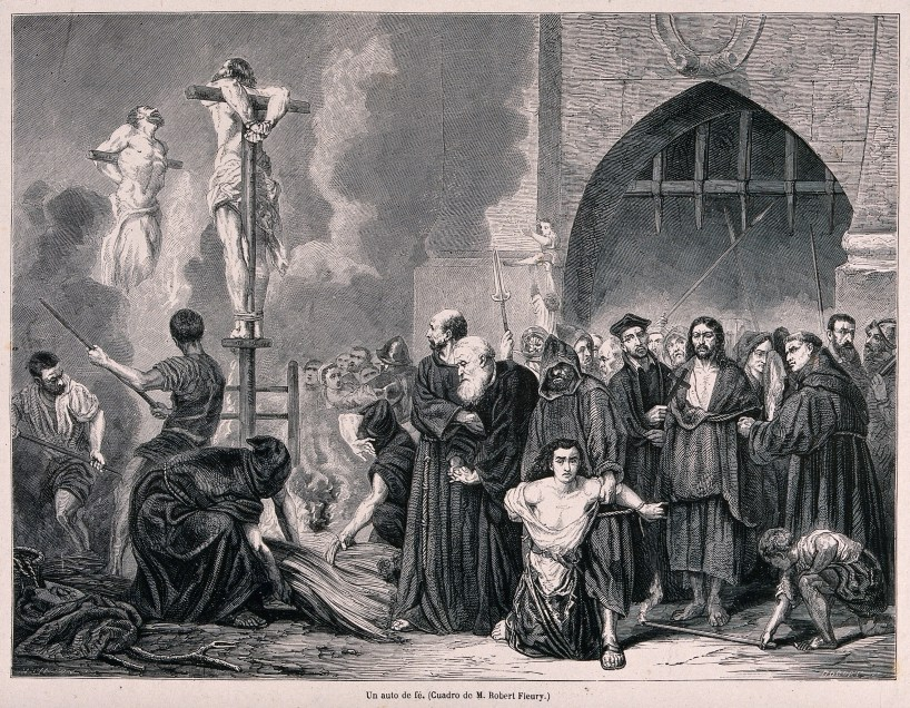 V0041892 An auto-da-fé of the Spanish Inquisition and the execution o Credit: Wellcome Library, London. Wellcome Images images@wellcome.ac.uk http://wellcomeimages.org An auto-da-fé of the Spanish Inquisition and the execution of sentences by burning heretics on the stake in a market place. Wood engraving by Bocort after H.D. Linton. By: Henry Duff LintonPublished: - Copyrighted work available under Creative Commons Attribution only licence CC BY 4.0 http://creativecommons.org/licenses/by/4.0/