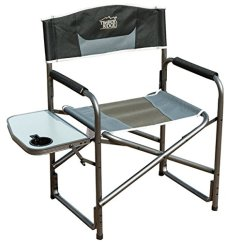 Heavy Duty Folding Chair With Side Table Club Chairs On Casters Timber Ridge Aluminum Portable Director S Frame Powder Coating All Tube Makes It Durable And Easy To Clean Built In Drink