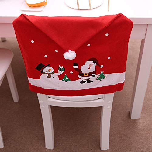 santa chair covers sets theo a kochs barber parts iyoyo 2018 newest christmas happy 3d nose toilet lohome claus cap cover set of 4 pcs snowman red hat back non woven dinner decorations