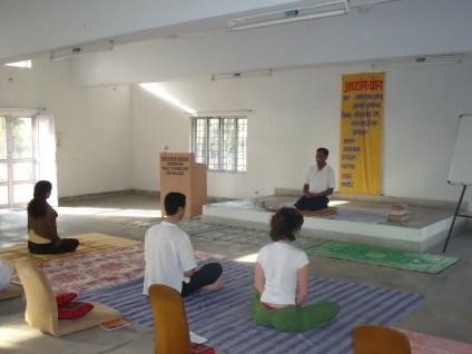 Meditaion practice in Ashram