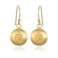 Our Resonate earrings feature the Om symbol against a bold disc backdrop. $68. http://www.satyajewelry.com/resonate-earrings-gold.html