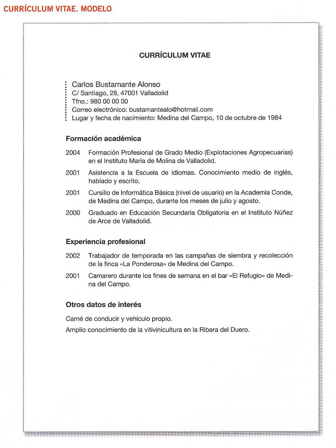 Ejemplos Curriculum Vitae Formato Pdf Job Resume For High School