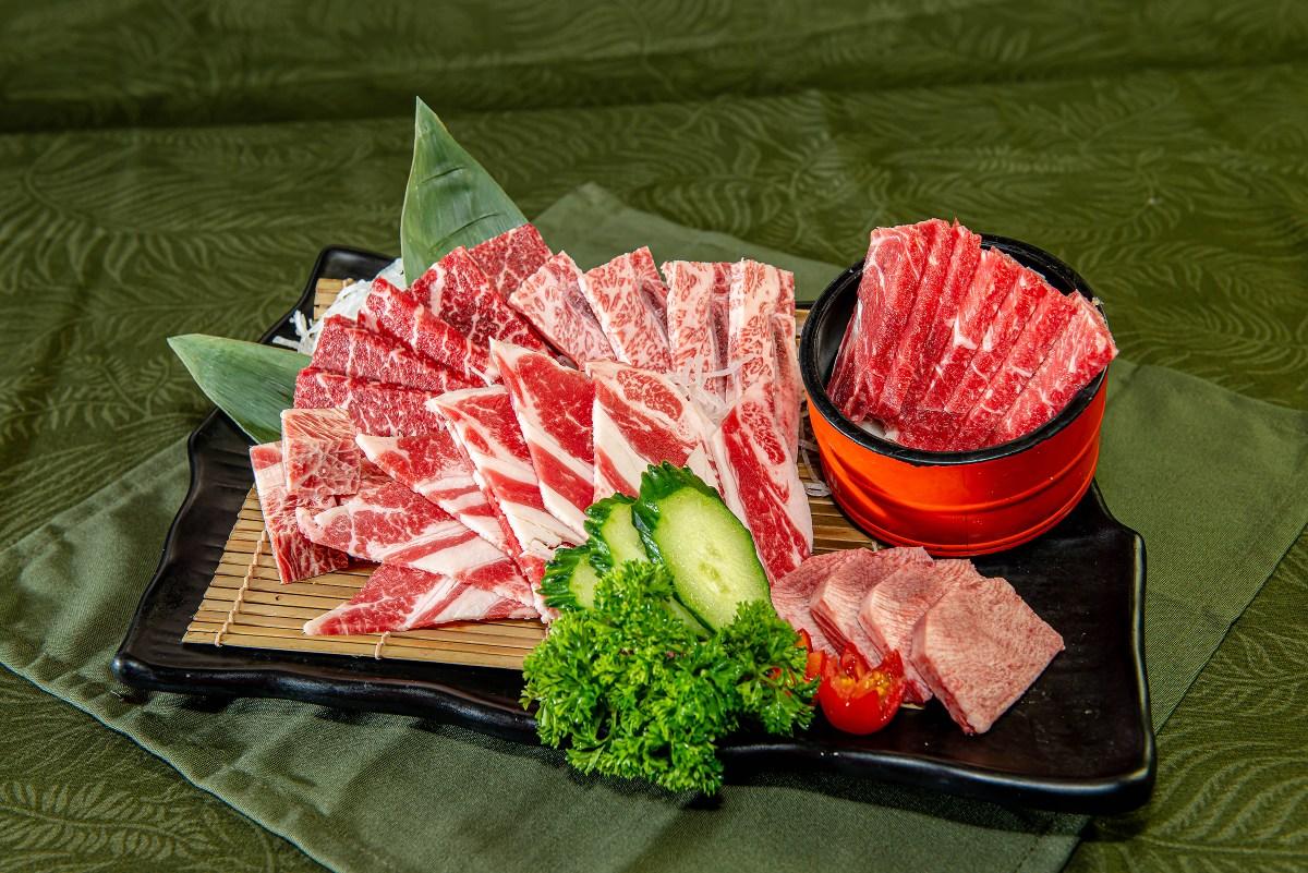 人氣安格斯拼盤:一次性安格斯牛頸脊/牛小排及任叫的特上牛脊肉、牛肋肉、一口牛、厚切牛舌等。