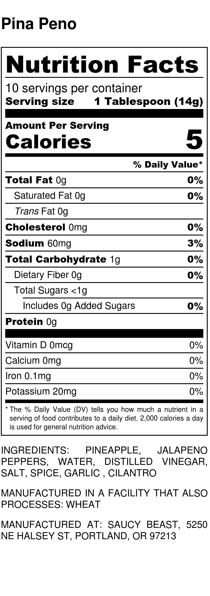 Pina Peno - Nutrition Label