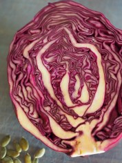 Red cabbage stays more of a crimson colour in acidic soils.