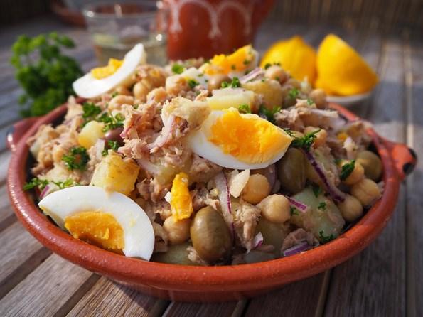 Salada de Grão de Bico, Batata e Atum