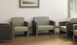 Dignity Health Lounge chairs and tables in hospital